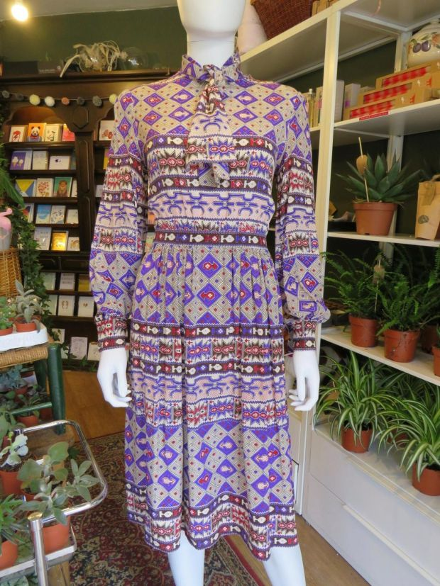 14f9253032dd 1970s silk ikat print Valentino dress with pussy bow and keyhole detail  €395 from Lyon