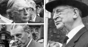 Tom O'Higgins (top left) hailed from a venerable Fine Gael dynasty and ran an American-style campaign while Seán Lemass was pivotal in reminding voters of Dev's patriotic credentials. Photographs: The Irish Times