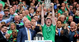 Limerick's Declan Hannon lifts the Liam McCarthy Cup. Photograph: Ryan Byrne/Inpho