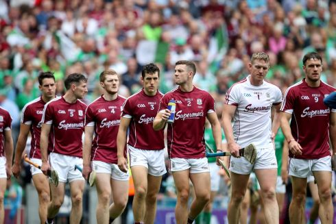 Galway players during the match parade. Photograph: Bryan Keane/Inpho