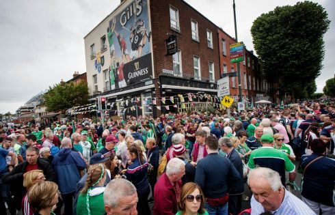Fans outside Gill's pub ahead of the game. Photograph: Ryan Byrne/Inpho