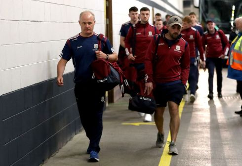 Galway manager Michéall Donoghue leads his side into Croke Park. Photograph: James Crombie/Inpho