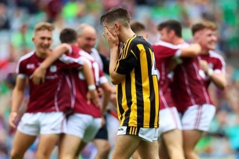 Kilkenny's Dylan Crehan dejected at the final whistle of the nimor final. Photograph: Tommy Dickson/Inpho