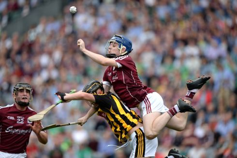 Galway's Niall Collins gets above Shane Staunton of Kilkenny during the  All-Ireland minor final at Croke Park. Photograph: Dara Mac Dónaill
