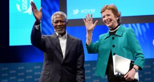Kofi Annan and former president Mary Robinson at One Young World event in Dublin in 2014. Photograph: Dara Mac Dónaill