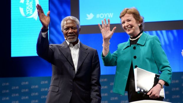 Mary Robinson and Kofi Annan: Annan constantly declared himself to be an optimist, however challenging the environment. Photograph; Dara Mac Dónaill