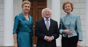President Michael D Higgins with former presidents Mary McAleese and Mary Robinson at Áras an Uachtaráin at a 2013 event to celebrate the 75th anniversary of the Irish Presidency. Photograph: Cyril Byrne