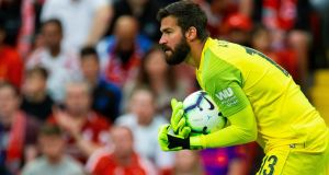 Liverpool goalkeeper Alisson: The Brazil international enjoyed a comfortable debut against West Ham. Photograph: Peter Powell/EPA