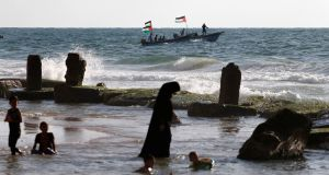 Palestinians in boats in the sea at Gaza during a protest against the Israeli blockade on August 18th. Photograph: Mohammed Salem/Reuters