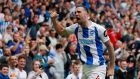 Shane Duffy scored Brighton's second against Manchester United. Photograph: Aldrew Coulridge/Reuters