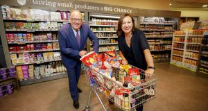 SuperValu managing director Martin Kelleher and Guaranteed Irish chief executive Bríd O'Connell. Photograph: Andres Poveda