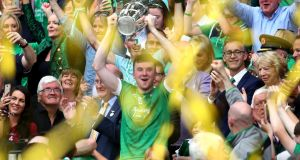 HURLING FINAL: Limerick's Declan Hannon lifts the Liam MacCarthy Cup after his team's victory over Galway in the All-Ireland senior hurling final, Croke Park, Dublin. Photograph: INPHO/Bryan Keane