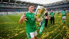 Darragh O'Donovan celebrates with Liam MacCarthy. Photograph: Ryan Byrne/Inpho