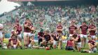 Dejected Galway players after the defeat to Limerick in the senior championship final at Croke Park. Photograph: Dara Mac Dónaill