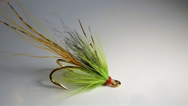 Chartreuse Cascade, a great pattern for fresh run salmon. Tied by Jimmy Tyrrell (irishflycraft@gmail.com).