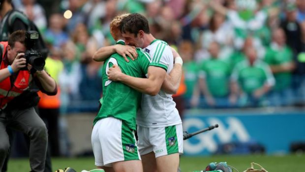 Limerick's Cian Lynch and Nickie Quaid celebrate after their side's All-Ireland Senior Hurling Championship final win at Croke Park. Photograph: Bryan Keane/Inpho