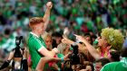 Limerick's Cian Lynch celebrates with fans. Photograph: James Crombie/Inpho