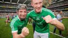 Limerick's Peter Casey and William O'Donoghue celebrate after their All-Ireland SHC final win at Croke Park. Photograph: Ryan Byrne/Inpho