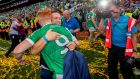 RTÉ's Marty Morrissey celebrates with Cian Lynch of Limerick. Photograph: James Crombie/Inpho