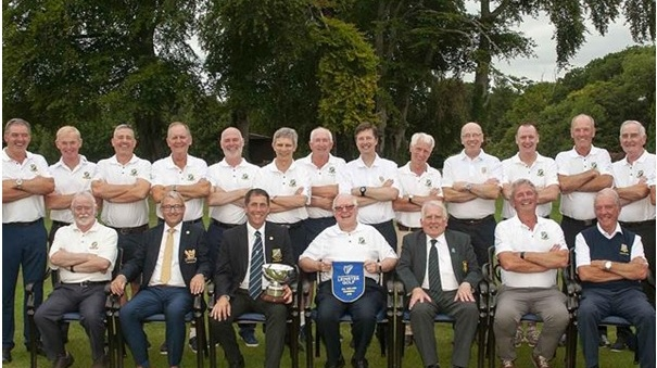 Leinster Fourball champions Malahide (front L to R) - Mick Gaffney, Brian Gunning (captain of Tullamore), Jim McMahon (captain Malahide), Neil Corr, (joint team manager), John Ferriter (chairman Leinster Golf), Michael Ryan (joint team manager) and Dónal Hughes (back L-R) Bob Sandford, Seamus Gallagher, Michael Murray, Douglas Shirran, Bill Lowe, Gary Mahood, Noel Minihan, Michael Lenihan, Paraic Conlon, Andy Roche, Paul Murray, Matt McMahon, Des Watehorne and Eamon Donnelly.