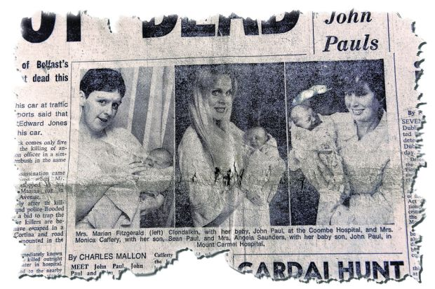 Pope's children: John Paul Fitzgerald, Sean Paul Cafferty and JP Saunders on the front page of the 'Evening Herald' in September 1979