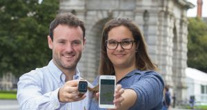 Robbie Fryers and Talita Holzer, co-founders of WaytoB, a smartphone- and smartwatch-based navigation solution. Photograph: Patrick Browne