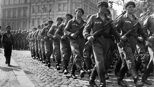 Soviet troops marching through Prague, September 1968. Photo: © Hulton-Deutsch Collection / Corbis via Getty Images