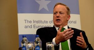 Former White House press officer Sean Spicer speaking at the IIEA meeting in the Gresham Hotel. Photograph: Cyril Byrne