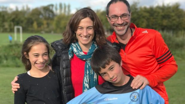 Carla Perrotta, from Argentina, with her family Roldan, Felipe and Maite: believes Argentinian society has become deeply divided in its support for the pope.