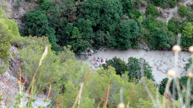 Rescuers work at the Raganello Gorge in Italy. Photograph: Francesco Capitaneo/ANSA via AP