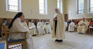 Sr Angela Finegan, who made her Solemn Monastic Profession at St Mary's Abbey, Glencairn, Co Waterford. Abbess Marie Fahy,  presiding at the ceremony. Glencairn Abbey is the only Cistercian Monastery for Women in Ireland. Photograph: Valerie O'Sullivan