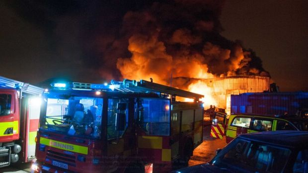 Fire services battle a large blaze at a recylcing centre at the Greenogue Business Park in Rathcoole, Co Dublin. Photograph: Dublin Fire Brigade/Twitter