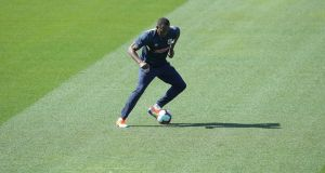 Usain Bolt during his first training session with the Central Coast Mariners. Photograph: Tony Feder/Getty