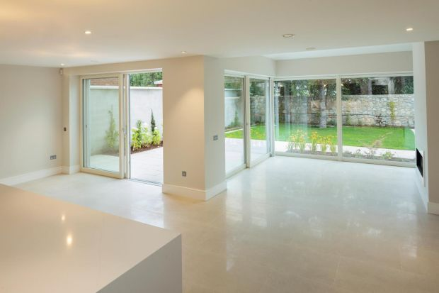 Spacious room on Glenart Avenue, Blackrock, looking out on the landscaped garden.