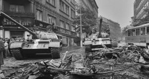 Tanks on the street during  the Soviet invasion of Czechoslovakia in 1968. Photograph:  Memory of Nations