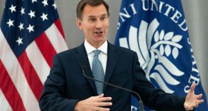 British foreign secretary Jeremy Hunt speaks  at the US Institute of Peace in Washington  on Tuesday. Photograph: Saul Loeb/AFP/Getty Images