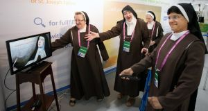 WORLD MEETING OF FAMILIES: Nuns from St Joseph's Carmelite Monastery, Tallow, attend the opening of the World Meeting of Families 2018, at the RDS. Photograph: Tom Honan/The Irish Times