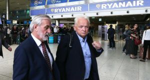 Independent mediator Kieran Mulvey and Ryanair chief people officer Edward Wilson in Dublin Airport. Photograph: RollingNews.ie