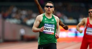 Jason Smyth: won the T13 200 metres final in a new championship record of 21.44 seconds in Berlin. Photograph: Kieran Galvin/Inpho
