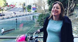 """Beautiful Sunday morning for a bike ride, to the hospital, for an induction to finally have this baby,"" Ms Genter said on Instagram alongside photos of her riding her bike at 42 weeks pregnant, accompanied by the hashtagged phrase '#bicyclesarethebest'."