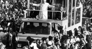 Pope John Paul II  greets the congregation in the Phoenix Park in 1979