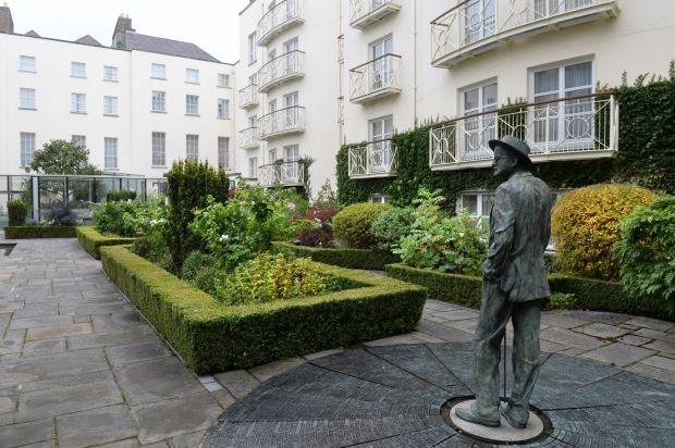 The landscaped courtyard at the Merrion Hotel, Dublin. Photograph: Dara Mac Dónaill