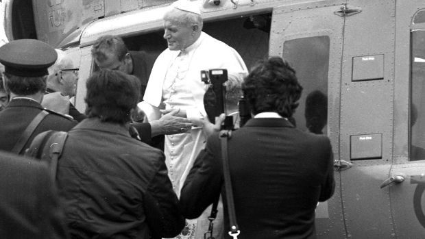 Pope John Paul II disembarks from the helicopter at Knock in October 1979. Photograph: Pat Langan