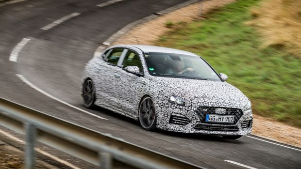 A prototype of the Hyundai i30n Fastback on the tracks