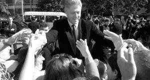 US president Bill Clinton greets wellwishers outside the Waterfront Hall in Belfast in 1998.  Photograph: Doug Mills/AP