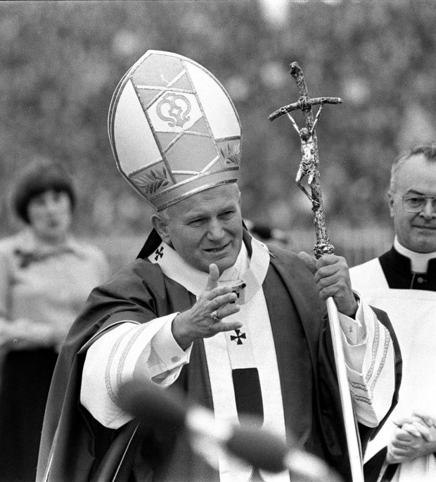 Pope John Paul II in gestures to the crowd in Drogheda in 1979.