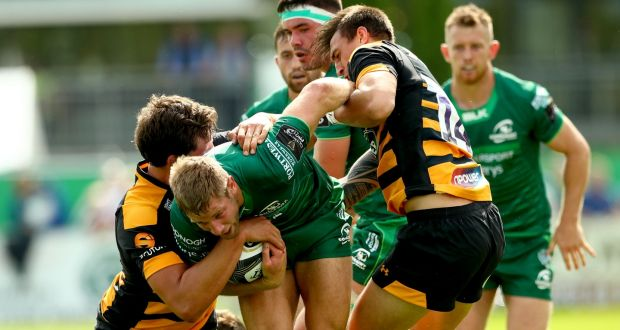 Connacht S Kyle Win Is Tackled By Charlie Matthers And Ambrose Curtis Of Wasps In A Pre