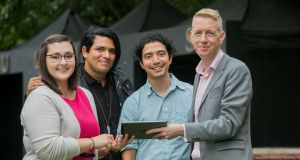 Emily Dever, Carlos Velazquez, Xorje Olivares and Tiernan Brady at a press briefing by Equal Future 2018 in Ballsbridge. Photograph: Gareth Chaney/ Collins