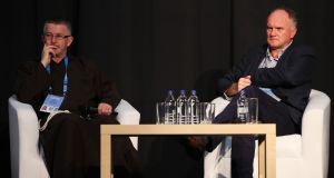 Fr Seán Donohoe,  left, and Conor Hickey of Crosscare  during a panel discussion on homelessness at the World Meeting of Families at the RDS in Dublin. Photograph: Brian Lawless/PA Wire