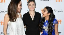 Angelina Jolie, Nora Twomey and Saara Chaudry attend the 2017 Toronto International Film Festical. Photograph: George Pimentel/WireImage